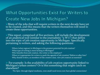 What Opportunities Exist For Writers to Create New Jobs In Michigan?