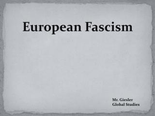 European Fascism