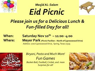 Please join us for a Delicious Lunch &  Fun-filled Day for all!