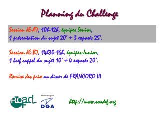 Planning du Challenge