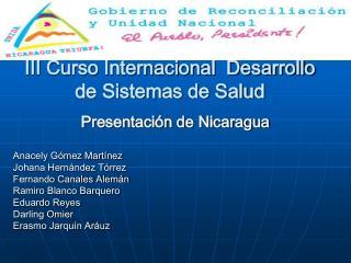 III Curso Internacional  Desarrollo de Sistemas de Salud