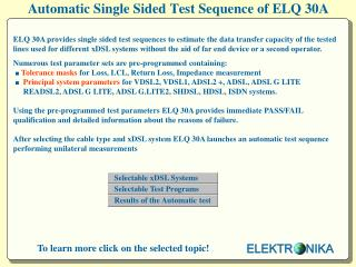 Automatic Single Sided Test Sequence of ELQ 30A