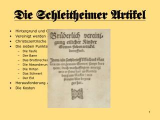 Die Schleitheimer Artikel