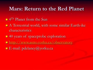 Mars: Return to the Red Planet