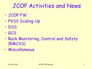JCOP Activities and News