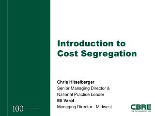 Introduction to Cost Segregation