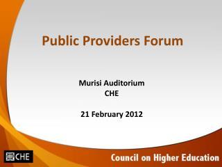 Public Providers Forum