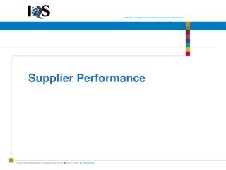 Supplier Performance