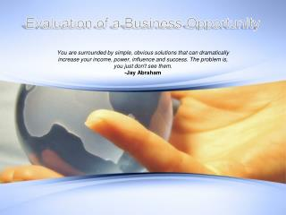 Evaluation of a Business Opportunity