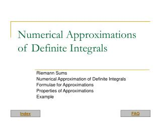 Numerical Approximations of Definite Integrals