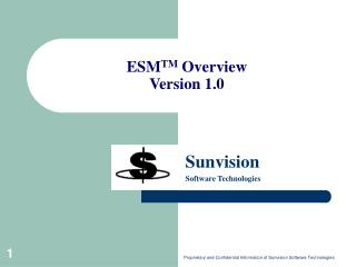 ESM TM  Overview Version 1.0