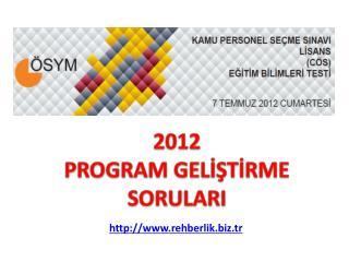2012 PROGRAM GELİŞTİRME SORULARI
