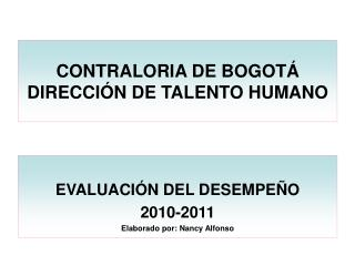 CONTRALORIA DE BOGOTÁ DIRECCIÓN DE TALENTO HUMANO
