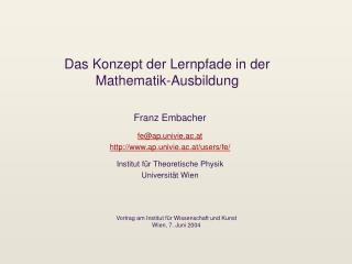 Das Konzept der Lernpfade in der Mathematik-Ausbildung