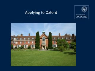 Applying to Oxford