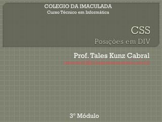 CSS Posi��es em DIV