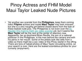 Pinoy Actress and FHM Model Maui Taylor Leaked Nude Pictures