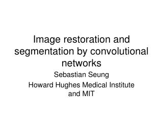 Image restoration and segmentation by convolutional networks