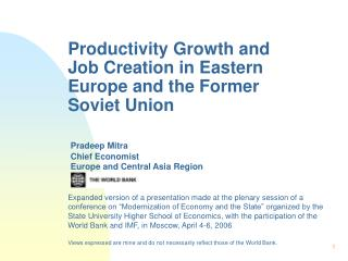 Productivity Growth and Job Creation in Eastern Europe and the Former Soviet Union