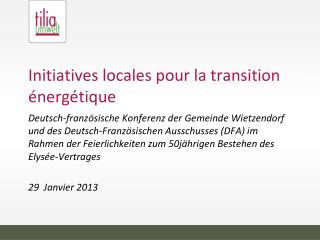Initiatives locales pour la transition énergétique