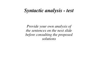 Syntactic analysis - test