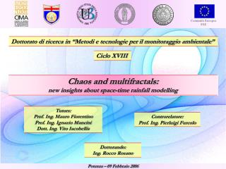 Dottorato di ricerca in �Metodi e tecnologie per il monitoraggio ambientale�
