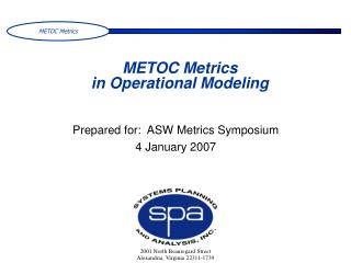 METOC Metrics  in Operational Modeling