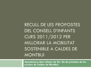 Aportacions dels infants de 5è i 6è de primària de les escoles de Caldes de Montbui