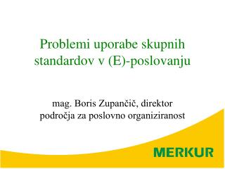 Problemi uporabe skupnih standardov v (E)-poslovanju