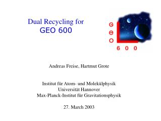 Dual Recycling for  GEO 600