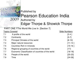 PART ONE : The World We Live In  [Section 7] Topics Covered Slide Numbers