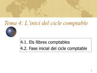 Tema 4: L'inici del cicle comptable