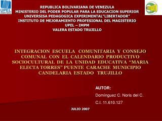 REPUBLICA BOLIVARIANA DE VENEZULA MINISTERIO DEL PODER POPULAR PARA LA EDUCACION SUPERIOR