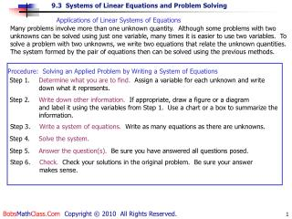 Applications of Linear Systems of Equations