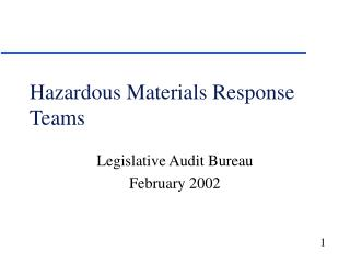 Hazardous Materials Response Teams