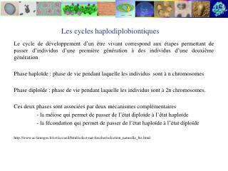 Les cycles haplodiplobiontiques