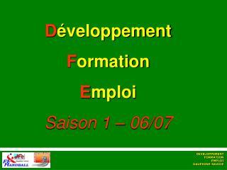 D éveloppement F ormation E mploi Saison 1 – 06/07