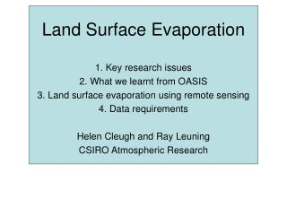 Land Surface Evaporation
