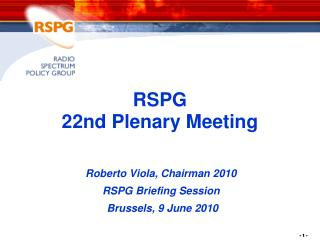 RSPG  22nd Plenary Meeting