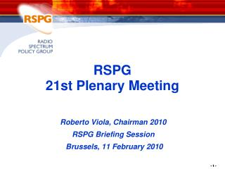 RSPG  21st Plenary Meeting