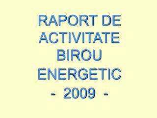 RAPORT DE ACTIVITATE  BIROU ENERGETIC  -  2009  -