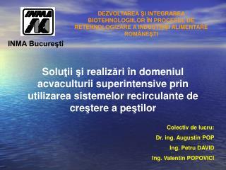 Colectiv de lucru: Dr. ing. Augustin POP Ing.  Petru DAVID Ing. Valentin POPOVICI