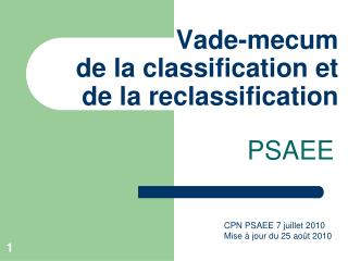 Vade-mecum de la classification et de la reclassification