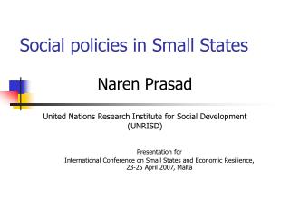 Social policies in Small States