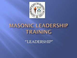 Masonic Leadership Training