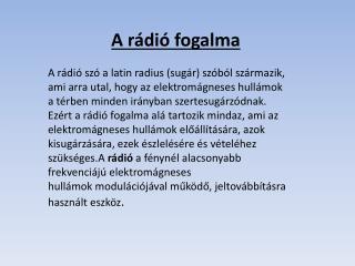 A rádió fogalma