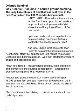 Orlando Sentinel  Gov. Charlie Crist joins in church groundbreaking,