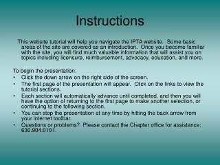 Instructions This website tutorial will help you navigate the ...