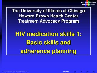 The University of Illinois at Chicago Howard Brown Health Center  Treatment Advocacy Program