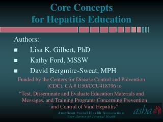 Core Concepts  for Hepatitis Education